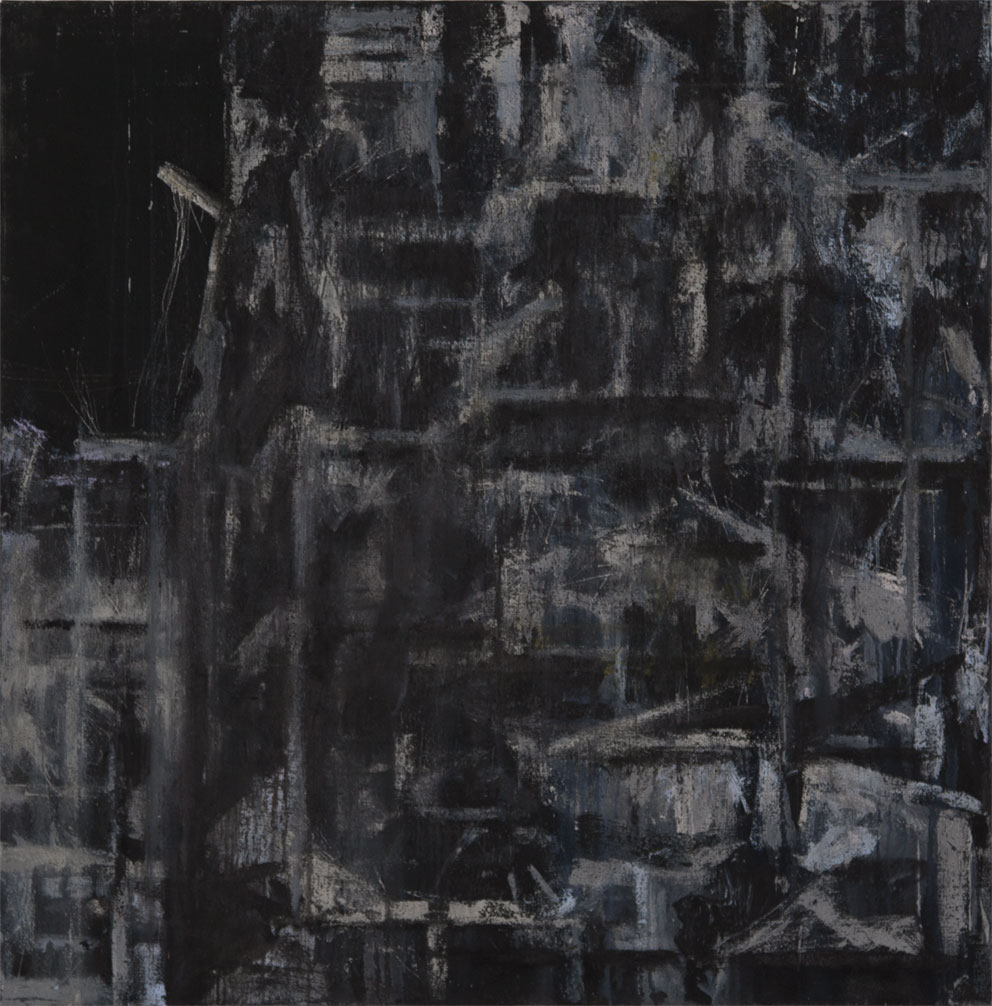 "From ""Storeys"" by Tammam Azzam, 121 X 121 cm, mixed media on canvas, 2014. Image courtesy of Tammam Azzam"