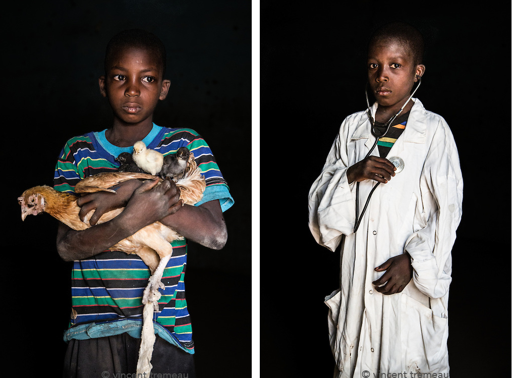 "Left (Mali): Issouf Konaté, from Fakola village, wants to be a chicken farmer. ""I want to be a chicken farmer, like my father, and also because I like chicken,"" he said. Right (Mali): Sekou, from Fakola Village, wants to be a doctor. ""When I will study I want to be a doctor so I can cure people,"" he said. Photos and caption by Vincent Tremeau"