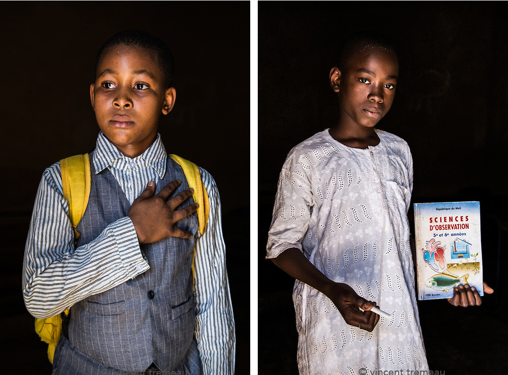 "Left (Mali): David Kamaté, 9. ""I want to be Président of Mali, because it is a good job, and there is a lot of money in it,"" he said. ""I would work well for my country."" Right (Mali): Yakouba Senou, 11, wants to be a science teacher. Photos and caption by Vincent Tremeau"