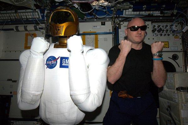 """Which one's the droid? #StarWars meet @AstroRobonaut,"" NASA astronaut Scott Kelly wrote on Dec. 18, 2015. Photo by Scott Kelly/NASA/via Twitter"