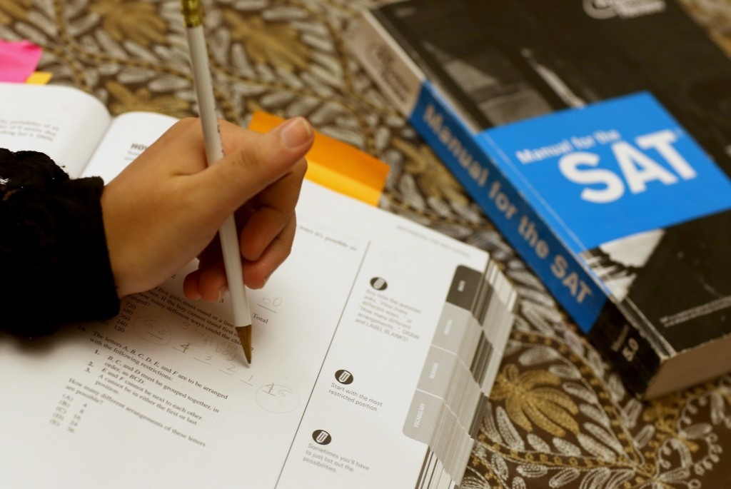 A SAT Preparation book. Photo by Joe Raedle/Getty Images
