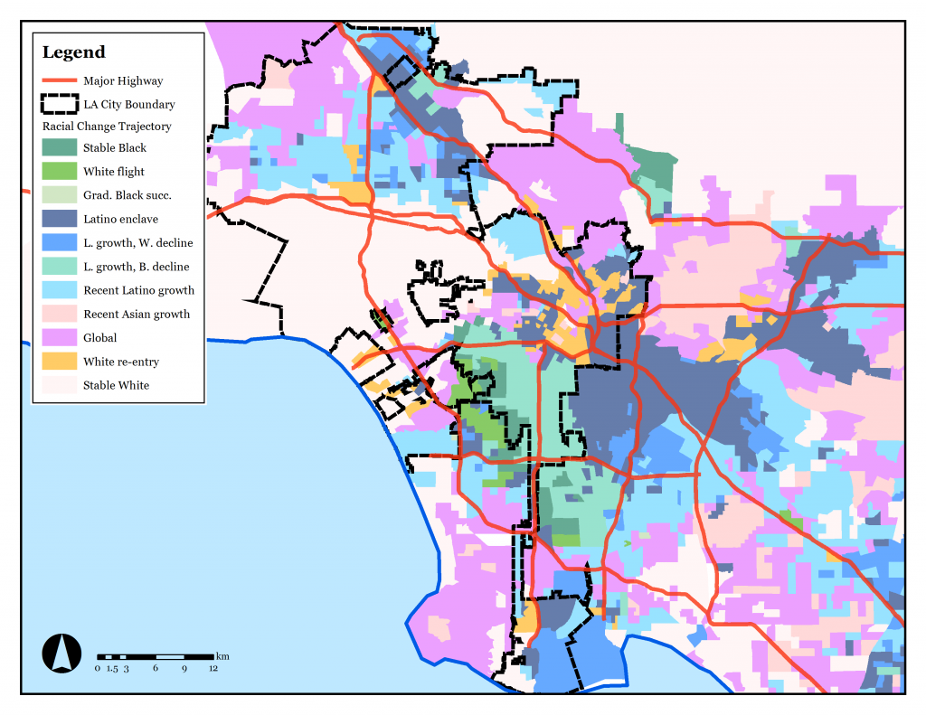 This map of Los Angeles shows that amid areas of durable integration (shown in purple), may other communities are experiencing varying trajectories of gradual succession. The study estimates these neighborhoods will become re-segregated within the next two decades.
