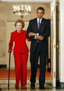 U.S. President Barack Obama escorts former first lady Nancy Reagan to a signing ceremony for the Ronald Reagan Centennial Commission Act at the White House in Washington June 2, 2009. Photo by Kevin Lamarque/Reuters