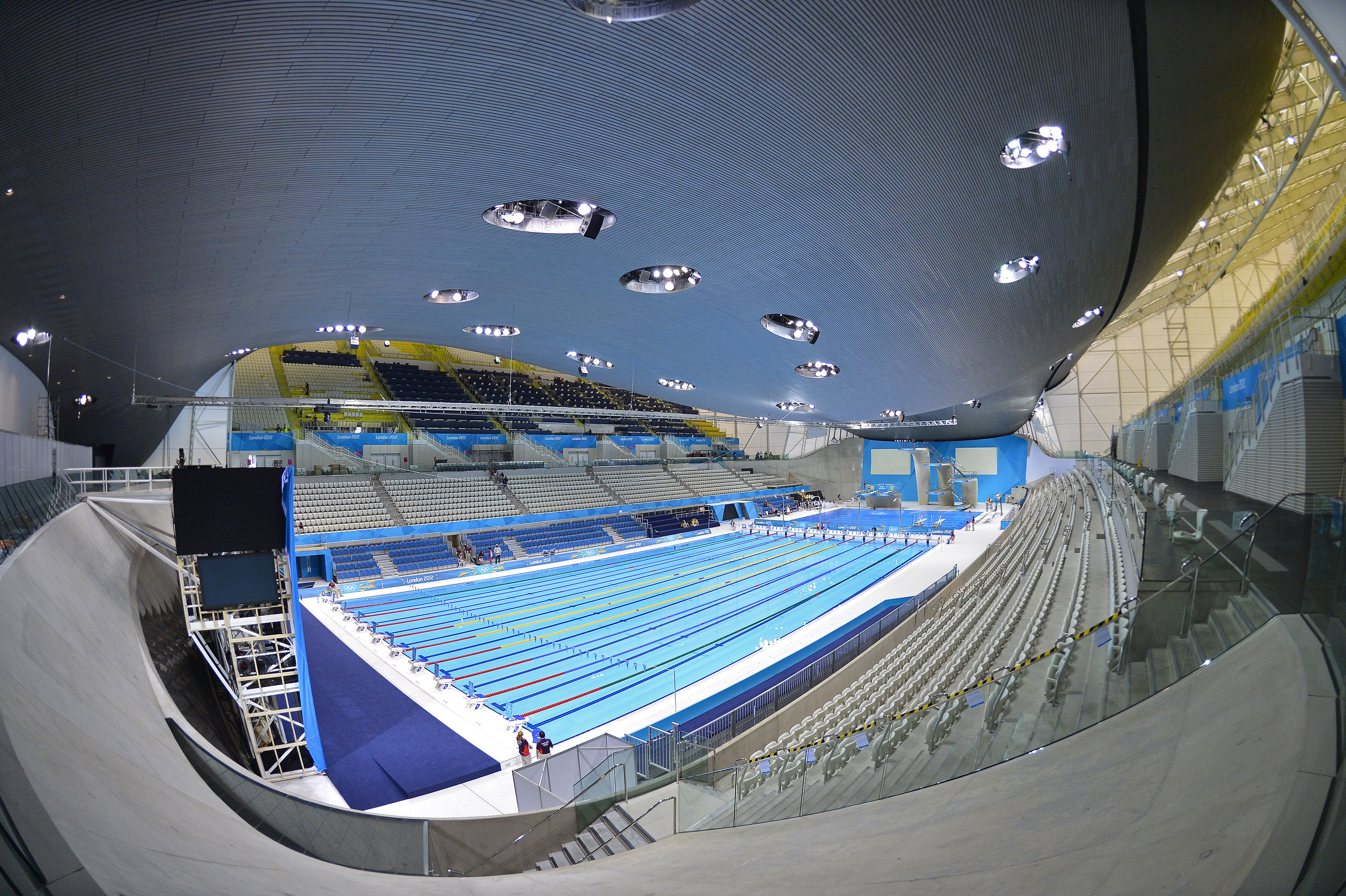 A general view is seen of the Aquatics Centre at the Olympic Park in Stratford, the location of the London 2012 Olympic Games, in east London July 19, 2012. REUTERS/Toby Melville (BRITAIN - Tags: SPORT SWIMMING OLYMPICS) - RTR3530A