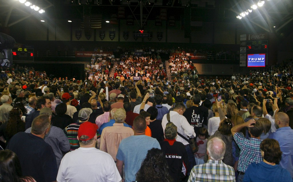 A packed venue at a Donald Trump campaign rally at Valdosta State University in Valdosta, Georgia on February 29. Photo by REUTERS/ Philip Sears