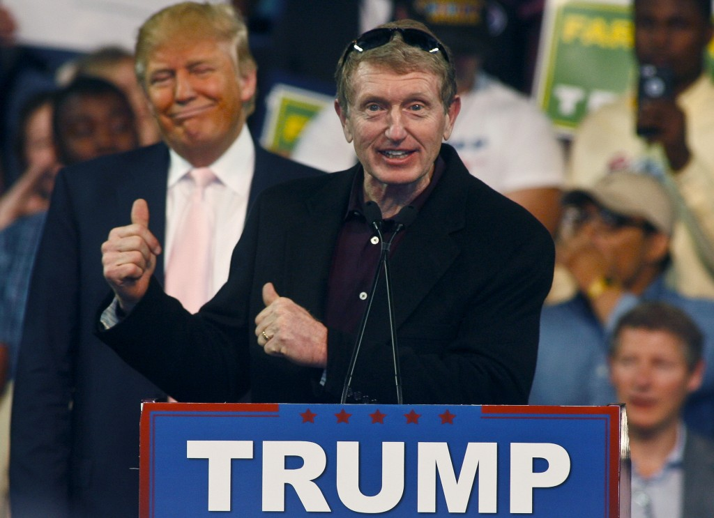 Former NASCAR driver Bill Elliott praises Trump at the Valdosta State University rally. Photo by REUTERS/ Philip Sears.