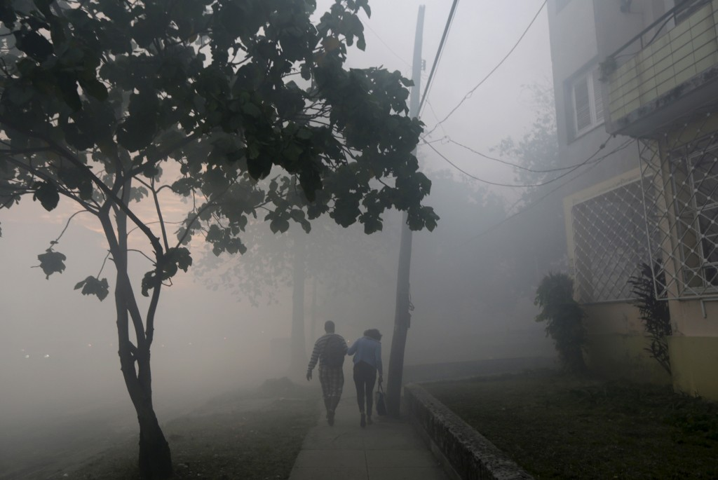 People walk among clouds of insecticide after a fumigating truck moved past in Havana March 1, 2016. Cuba conducts regular fumigation inside homes to check the spread of dengue, a virus transmitted by the Aedes aegypti mosquito that causes a fever which can be deadly. The same mosquito can also spread the Zika virus, although the Cuban government says there have been no reported cases of the disease in the country. Enrique de la Osa/Reuters