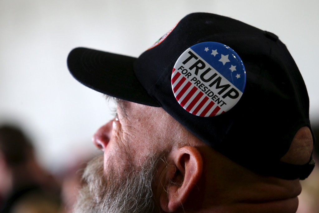 A man looks on as he waits for Republican presidential candidate Donald Trump to speak at a campaign rally on Super Tuesday in Columbus, Ohio. Photo by Aaron Josefczyk/Reuters