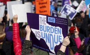 Protesters demonstrated in front of the U.S. Supreme Court on March 2, 2016 as the court weighed whether a Texas law that imposes strict regulations on abortion doctors and clinic buildings interferes with the constitutional right of a woman to end her pregnancy. Photo by Kevin Lamarque/Reuters