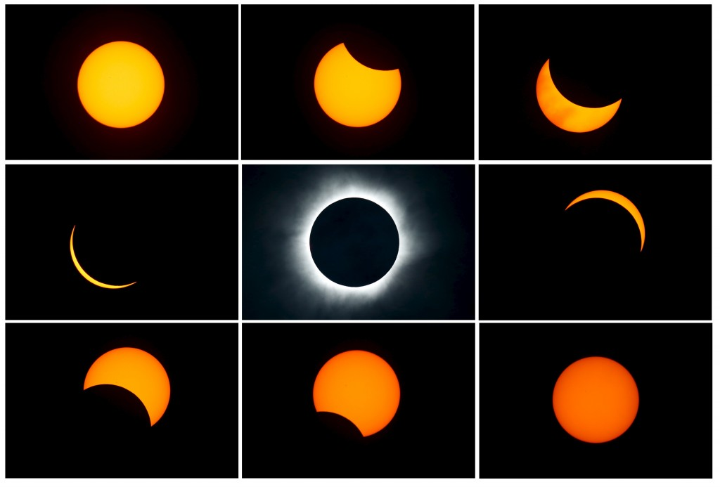 A combination photograph of a total solar eclipse (beginning: top left; end: bottom right)  as seen from the beach of Ternate island, Indonesia, March 9, 2016. Photo by Beawiharta/Reuters