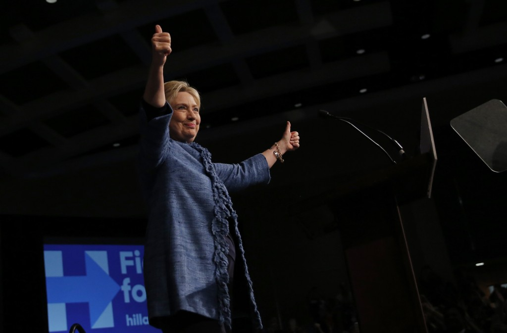 Democratic presidential candidate Hillary Clinton gives a thumbs up as she speaks to supporters at a campaign rally in West Palm Beach, Florida. Photo by Carlos Barria/Reuters