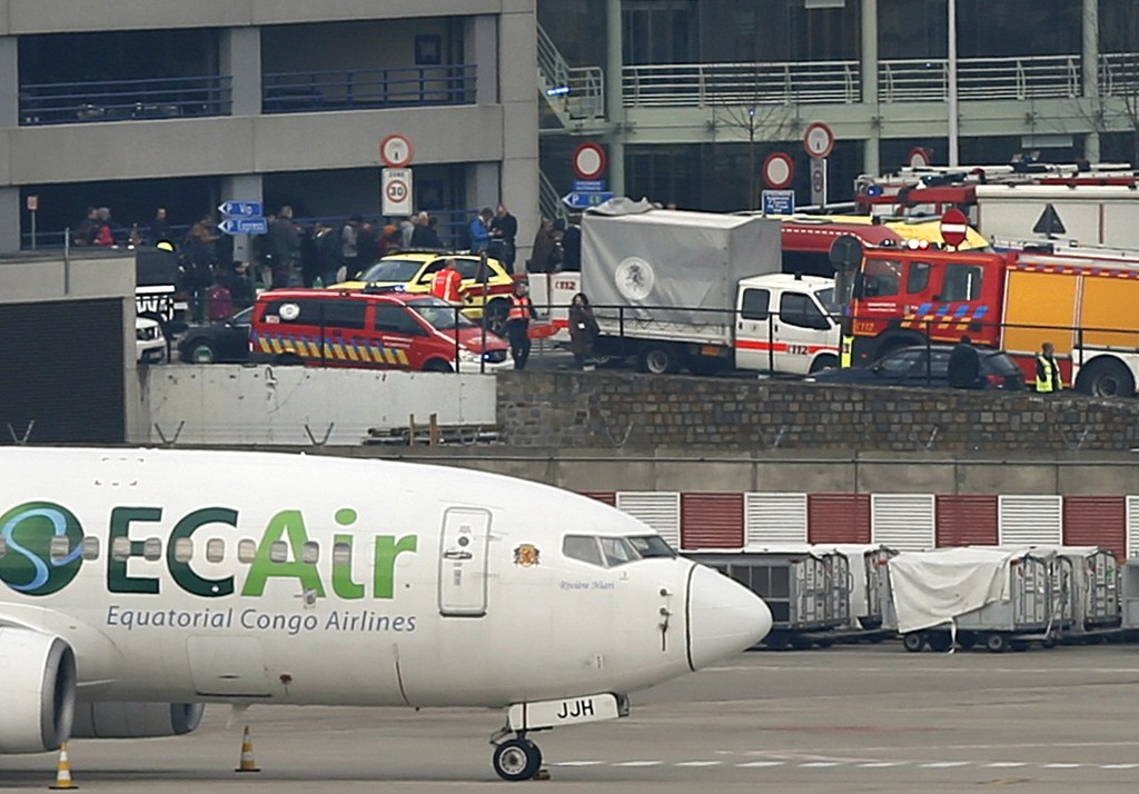 Emergency services at the scene of explosions at Zaventem airport near Brussels. Photo by Francois Lenoir/Reuters