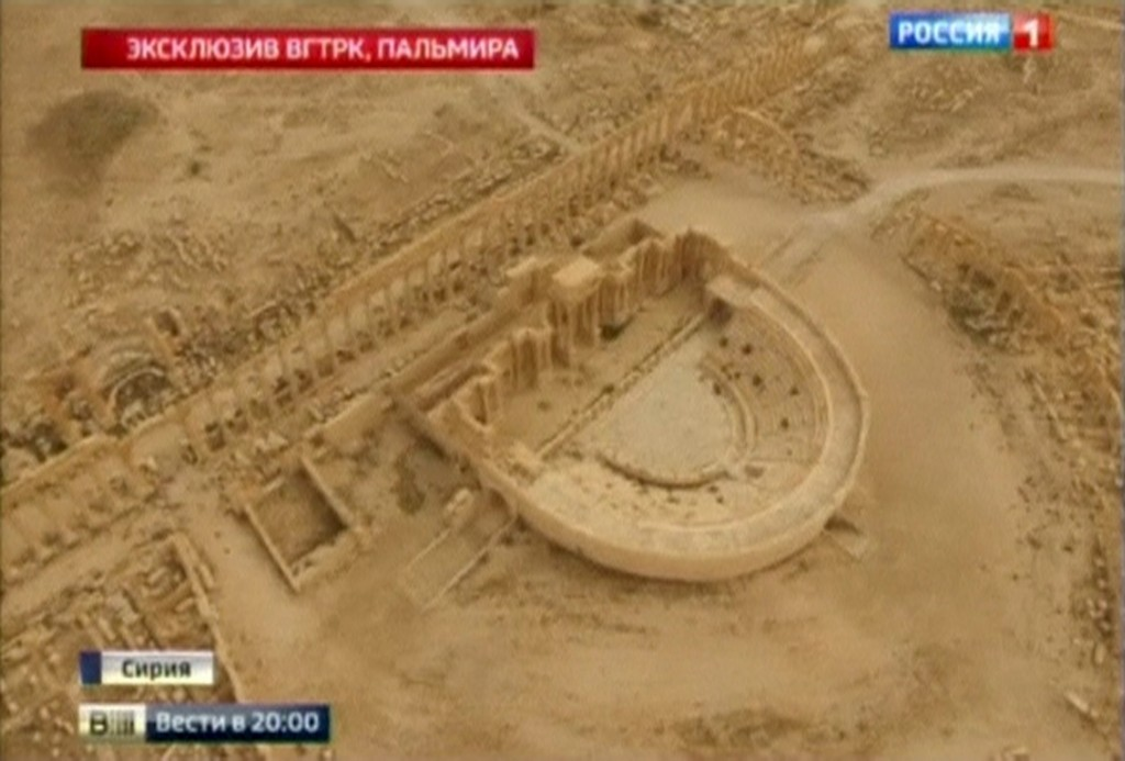 An aerial view of the Roman theater in Palmyra is seen in this still image taken from video by RURTR and released March 25, 2016.  Reuters TV