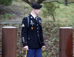 U.S. Army Sgt. Bowe Bergdahl leaves the courthouse after an arraignment hearing for his court-martial in Fort Bragg, North Carolina, on Dec. 22, 2015. Bergdahl spent five years as a Taliban prisoner after walking away from his combat outpost in Afghanistan in 2009. Photo by Jonathan Drake/Reuters