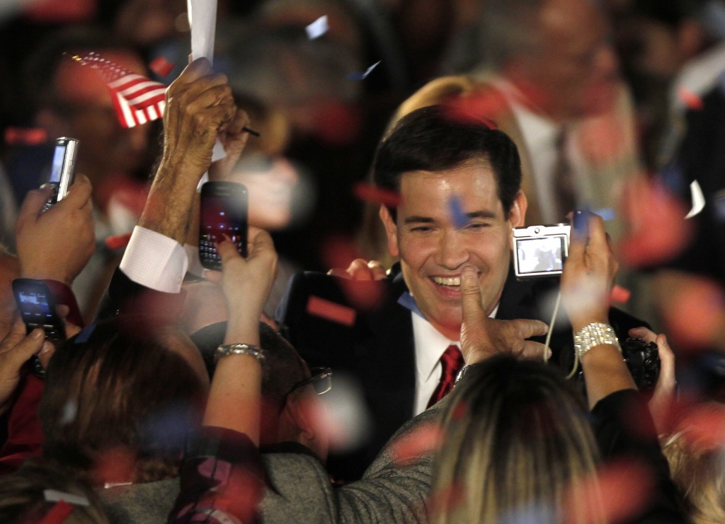 Marco Rubio greets supporters during a victory celebration in Coral Gables, Florida, Nov. 2, 2010. Photo by Hans Deryk/Reuters