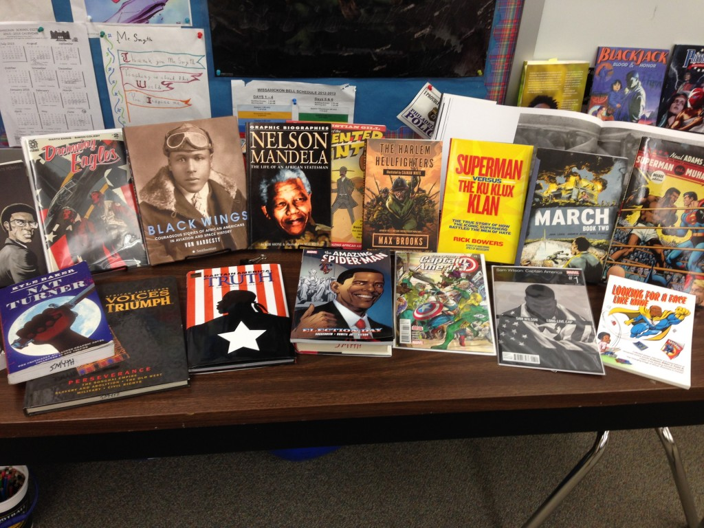 Social studies teacher Tim Smyth's classroom in Pennsylvania with comics books and literature about Black History Month on display.