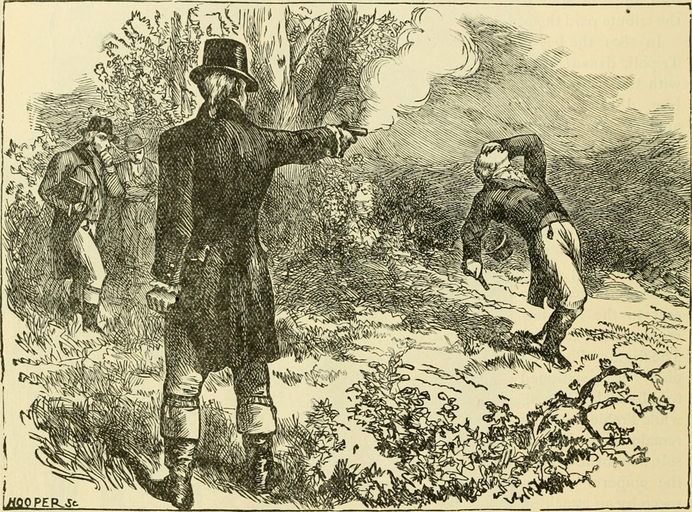 "Illustration of the Aaron Burr, Alexander Hamilton duel from the book ""Our greater country,"" published in 1901."