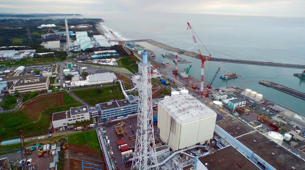 Drone footoage flying over the Fukushima Daiichi plant on June 21, 2015. Photo by Cameron Hickey