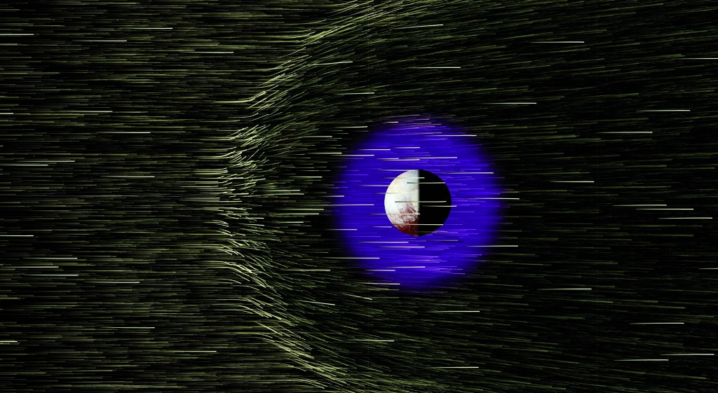 Protons and electrons streaming from the Sun at ~250 miles per second are slowed and deflected around Pluto because of a combination of ionization of Pluto's atmosphere and electrical currents induced in Pluto's ionosphere. Photo by  Bagenal F et al., Science, (2016)