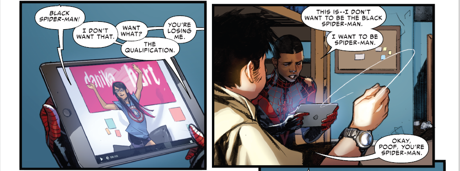 Spider-Man comic book panel from March 2, 2016, in which Miles Morales/Spider-Man discusses his uncertainties about how he'd like to be identified. Photo courtesy of Marvel Comics