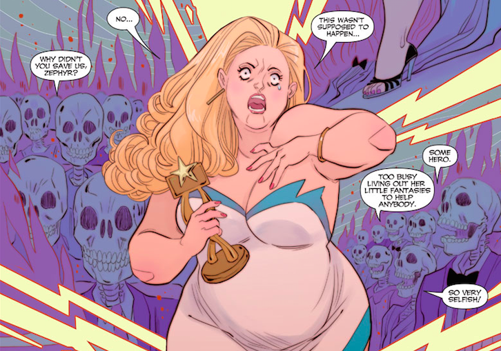 """Too busy living out her little fantasies to help anybody."" Faith's fantasy turns into a nightmare when she thinks about the lives she has yet to save. Art by Marguerite Sauvauge. Faith #3, March 2016. Photo courtesy of Valiant Comics"