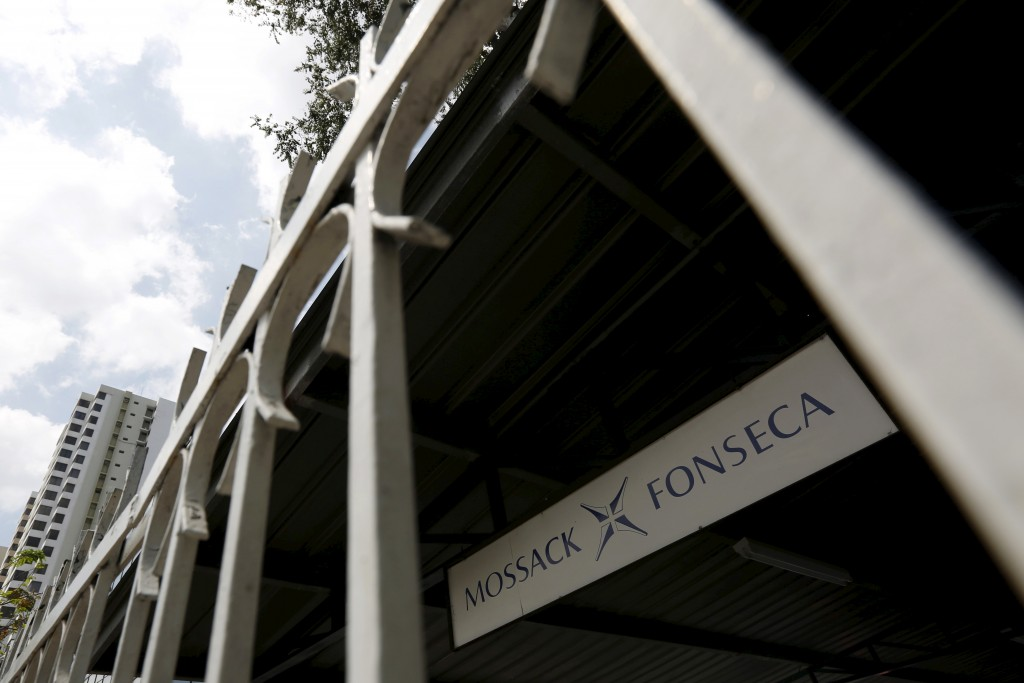 Mossack Fonseca law firm sign is pictured in Panama City on April 4. Photo by Carlos Jasso/Reuters