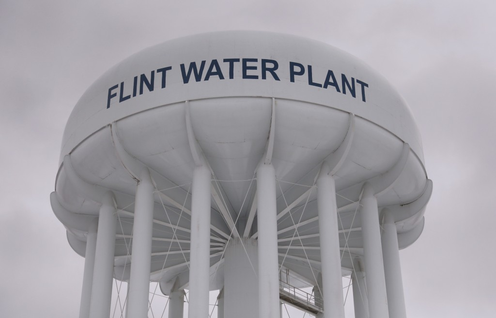 The top of a water tower is seen at the Flint Water Plant in Flint, Michigan January 13, 2016. Michigan National Guard members were set to arrive in Flint as soon as Wednesday to join door-to-door efforts to distribute bottled water and other supplies to residents coping with the city's crisis over lead-contaminated drinking water. REUTERS/Rebecca Cook