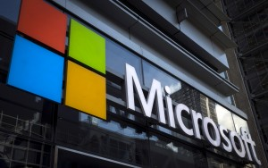A Microsoft logo is seen on an office building in New York City in …