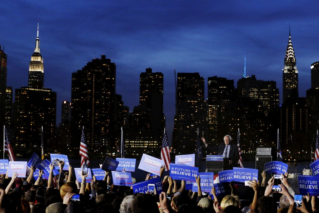 Bernie Sanders speaks at a campaign rally at Hunter's Point in the Queens borough of New York on April 18. Photo by Lucas Jackson/ Reuters