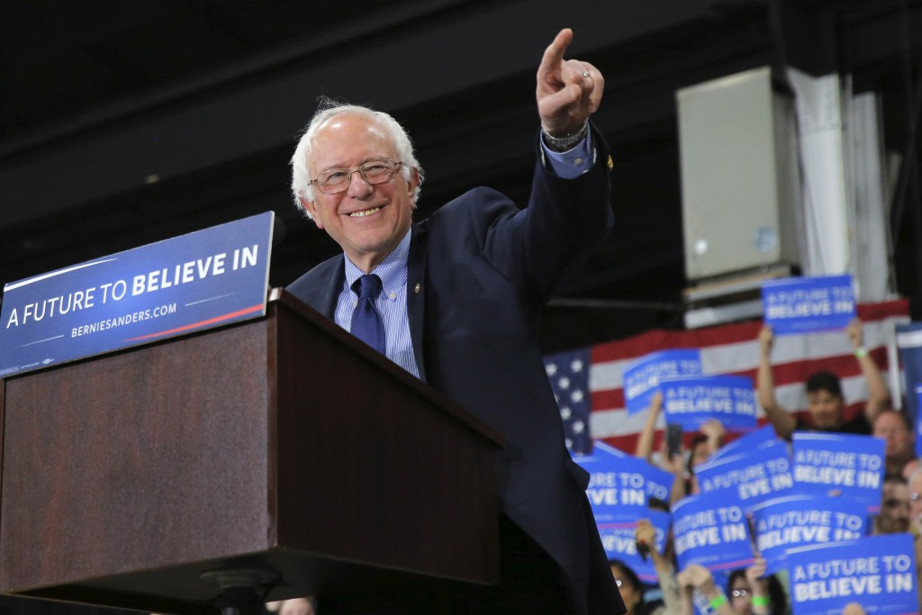 Democratic presidential candidate Bernie Sanders speaks to supporters during a campaign rally in Oaks, Pennsylvania. Photo...