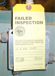 A boiler in a Bureau of Indian Education classroom building failed inspection because of elevated levels of carbon monoxide gas. Photo by Government Accountability Office.