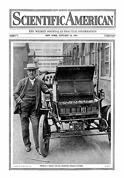 Thomas Edison and his electric car. Photo by Scientific American, January 14, 1911