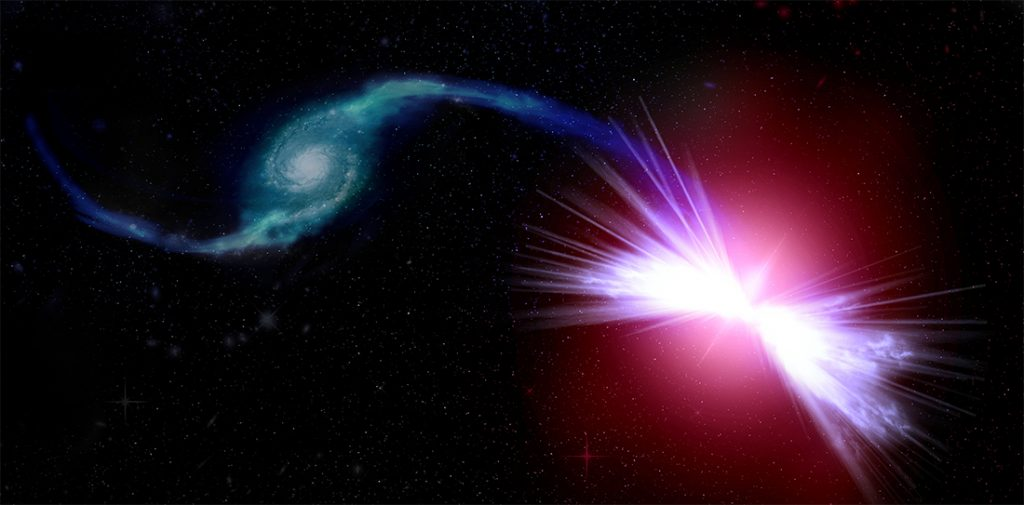 Artist's rendition of the galaxies Tetsuo (left) and Akira (right). Akira's gravity pulls Tetsuo's gas into its central supermassive black hole, fueling winds that have the power to heat Akira's gas. The action of the black hole winds prevents a new cycle of star formation in Akira. Illustration by Kavli Institute for the Physics and Mathematics of the Universe