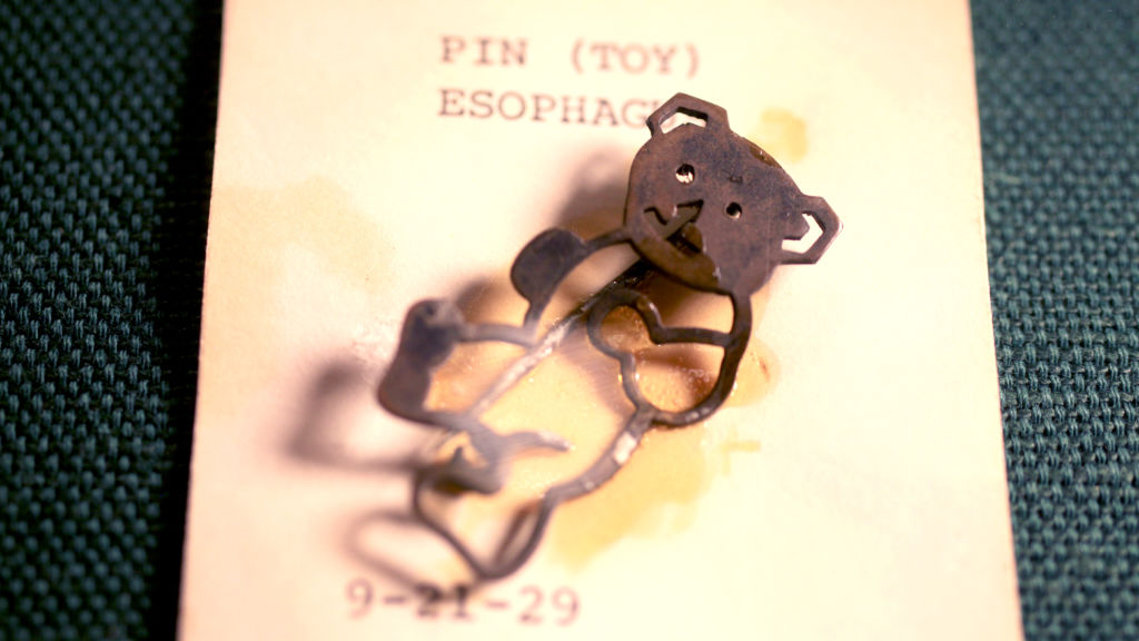 A toy pin recovered from a child's esophagus in 1929. Photo by Alissa Ambrose/STAT