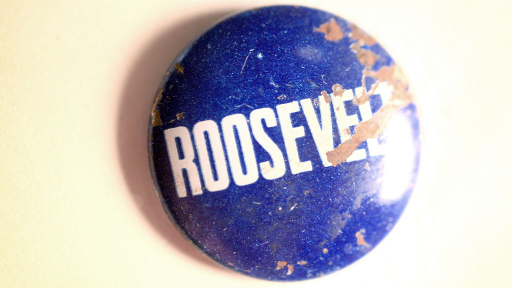 This Roosevelt campaign pin was removed from a child's esophagus on Nov. 2, 1940. Photo by Alissa Ambrose/STAT