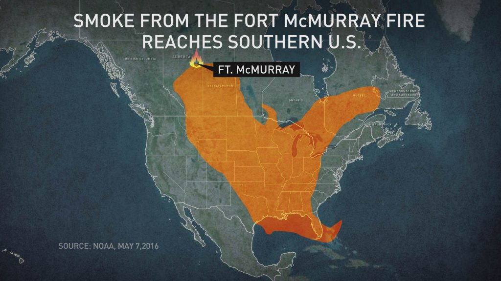 The 400,000-acre blaze at Fort McMurray, Alberta, sends smoke into Saskatchewan, Manitoba, the central and southern United States. Graphic by Lisa Overton/NewsHour Weekend
