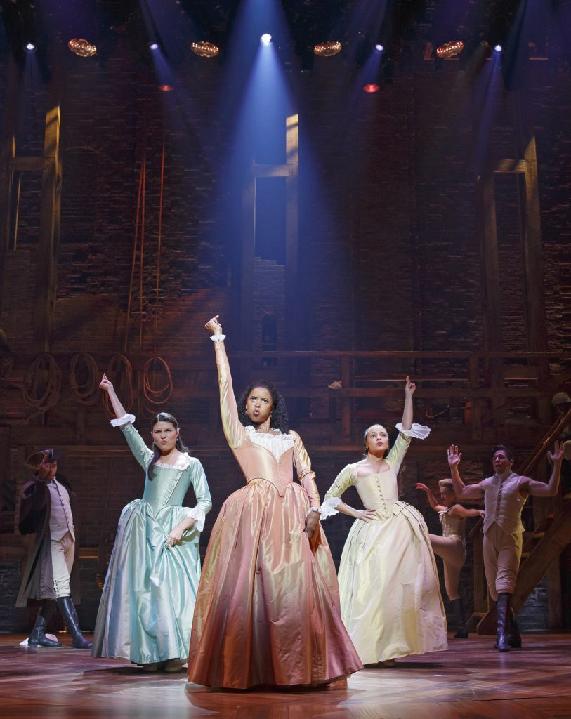 """""""Hamilton"""" cast members perform at Richard Rodgers Theatre on April 13, 2016. Photo By Joan Marcus"""