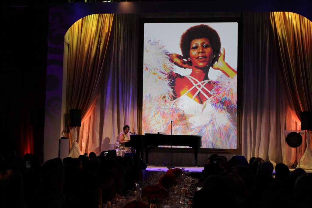 The National Portrait Gallery honored Aretha Franklin, Sunday, Nov. 15, 2015, as part of its first Portrait of a Nation Prize, a new award it will give perodically to people whose images appear in its collection. Gwen Ifill and Judy Woodruff moderated the event, which also honored baseball great Hank Aaron, designer Carolina Herrera, sculptor Maya Lin and Marine Corporal Kyle Carpenter, the youngest Marine to receive the Medal of Honor since 9/11. Photo by Margaret Myers