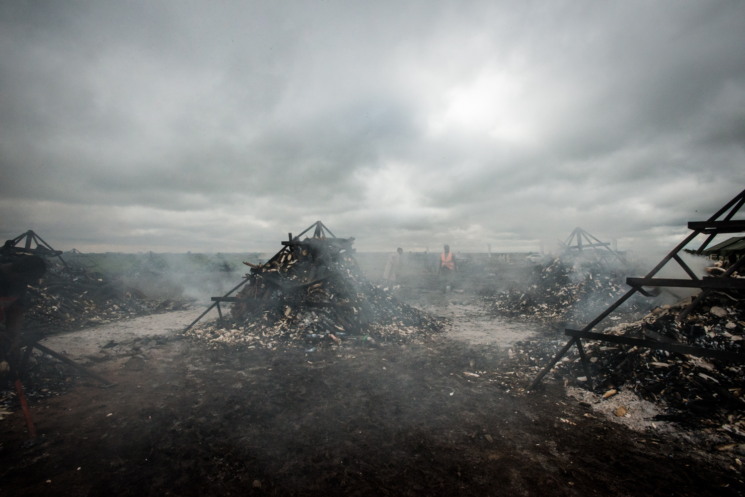 Two days after the burn, the incinerated piles are still smoking. Photo by Mia Collis for the Kenya Wildlife Service