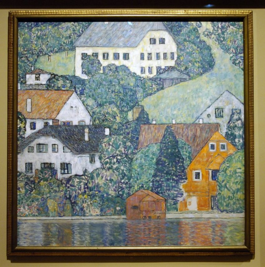 "1916 painting ""Houses in Unterach on Lake Atter,"" part of a special exhibition of Gustav Klimt paintings looted by the Nazis during World War II, is seen at the Los Angeles County Museum of Art in Los Angeles, April 4, 2006. Los Angeles resident Maria Altmann won the return of the paintings from the Austrian government following a lengthy legal dispute over the rightful ownership of the paintings. REUTERS/Chris Pizzello - RTR1C6ZK"