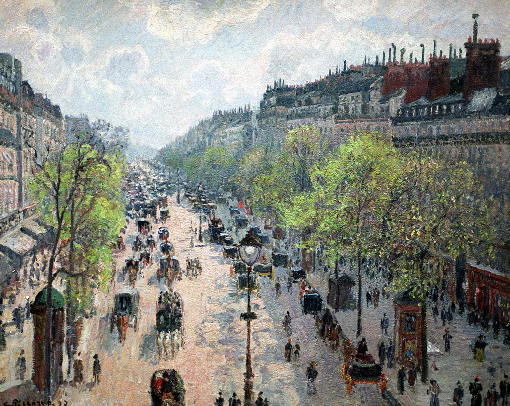 "A photo reproduction of Camille Pissarro's painting, ""Boulevard Montmartre, Spring 1897"" hanging in the Israel Museum February 18 after the Israel Museum restored ownership of the painting to a Jewish family forced by the Nazis to sell it in 1935. After months of investigation, the museum has recognized that Gerta Silberberg of Britain holds the legal title to the painting. Silberberg has given permission to the museum to keep the painting in Jerusalem on a long-term loan. EH/GB - RTR1E52"
