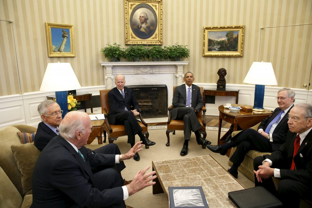 President Barack Obama (3rd R) meets with the bipartisan leaders of the Senate to discuss the Supreme Court vacancy left by the death of Justice Antonin Scalia, at the White House in March. From L-R: Senator Patrick Leahy (D-VT), Senate Democratic Leader Harry Reid (D-NV), Vice President Joe Biden, Obama, Senate Majority Leader Mitch McConnell (R-KY), and Senator Chuck Grassley (R-IA). Photo by Yuri Gripas/Reuters