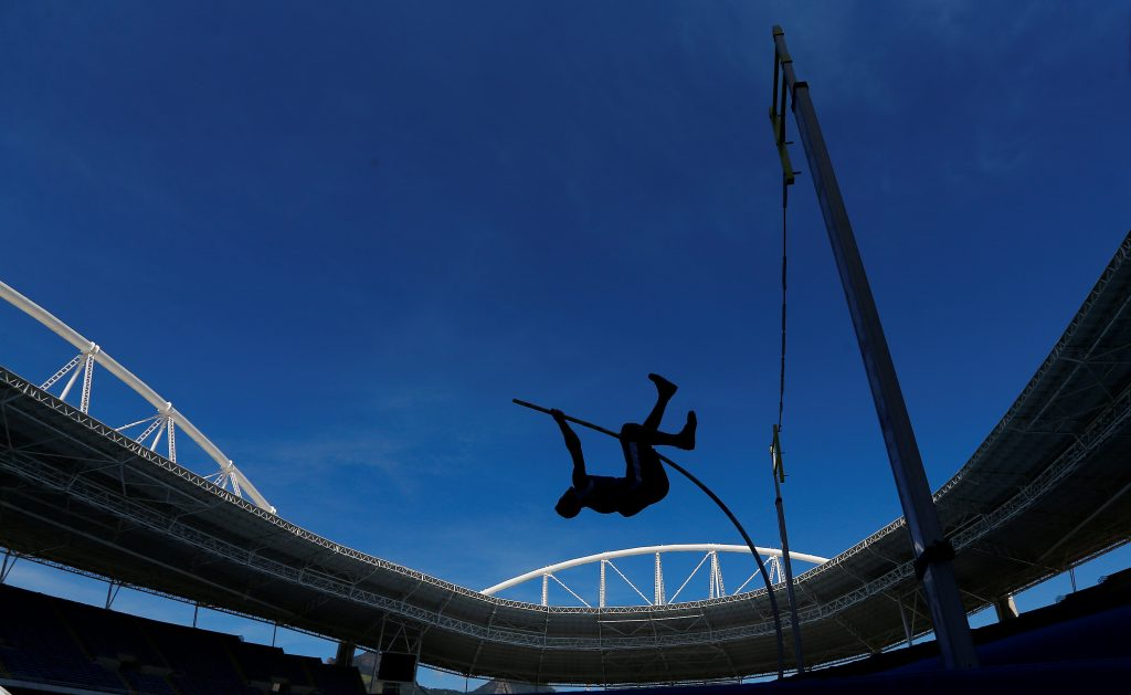 A competitor takes part in the Men's Decathlon Pole Vault at the 2016 Rio Olympics Test Event, May 16, 2016. Photo by Ricardo Moraes/REUTERS