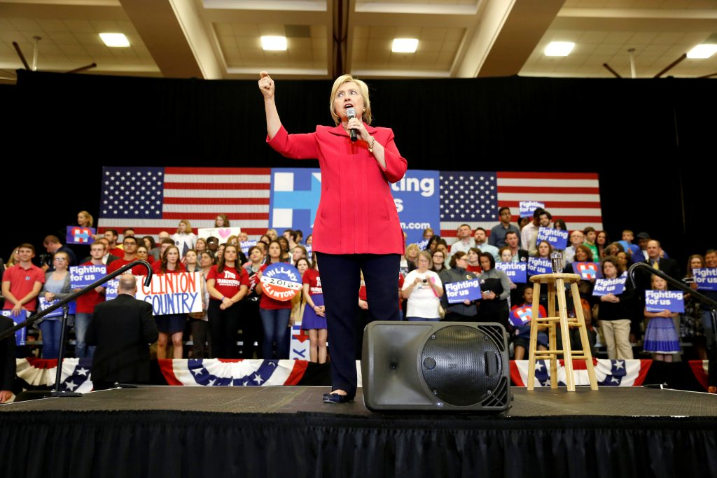 Democratic presidential candidate Hillary Clinton speaks at Transylvania University in Lexington, Kentucky. Photo by Aaron P. Bernstein/Reuters