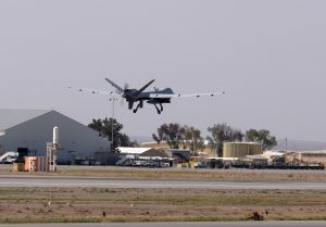 A U.S. Air Force MQ-9 Reaper drone takes off from Kandahar Airfield, Afghanistan March 9, 2016. To match Exclusive AFGHANISTAN-DRONES/ REUTERS/Josh Smith/File Photo - RTX2AKO0