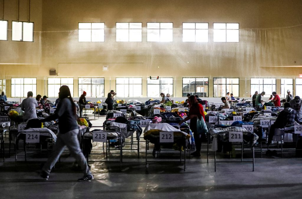 "Evacuees from the Fort McMurray wildfires use the sleeping room at the ""Bold Center"" in Lac la Biche, Alberta, Canada, May 5, 2016. REUTERS/Mark Blinch - RTX2CZZV"