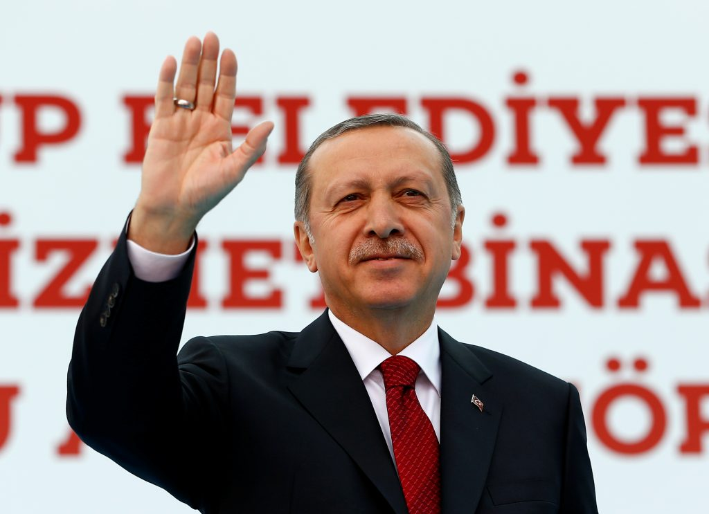 Turkish President Recep Tayyip Erdogan greets supporters in Istanbul, Turkey on May 6. Photo by Murad Sezer/Reuters