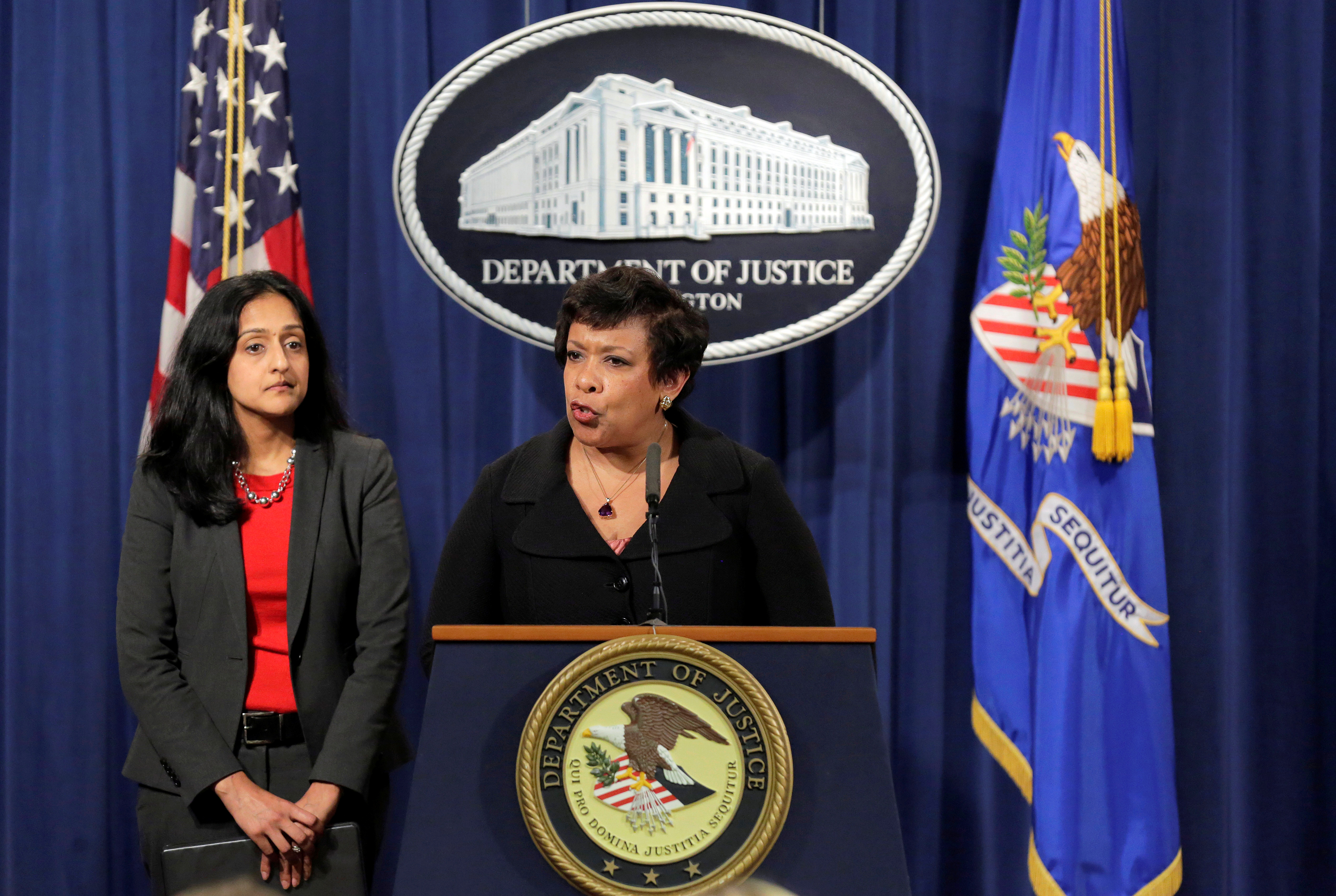 Attorney General Loretta E. Lynch (R) and Principal Deputy Assistant Attorney General Vanita Gupta, head of the Civil Rights Division, announce law enforcement action against the state of North Carolina in Washington, U.S., May 9, 2016. REUTERS/Joshua Roberts TPX IMAGES OF THE DAY - RTX2DJXF