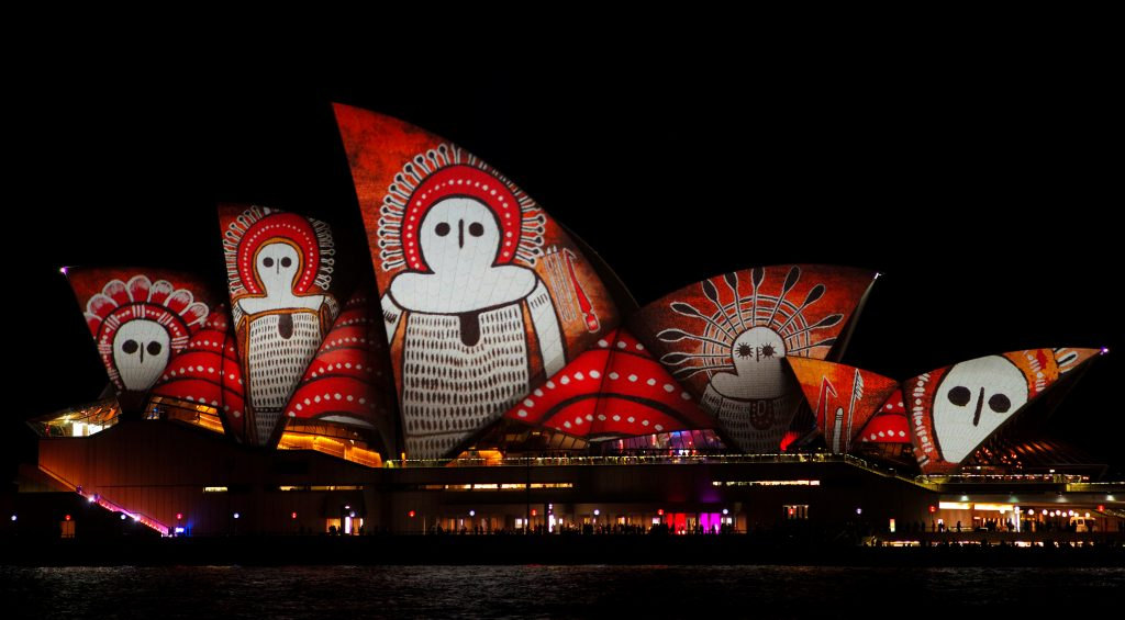 An indigenous Australian design is projected onto the sails of the Sydney Opera House during the opening night of the annual Vivid Sydney light festival in Sydney, Australia May 27, 2016. REUTERS/Jason Reed - RTX2EGEG