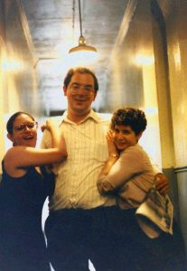 Jim Cassedy, his wife Karen Cassedy (right), and their friend ham it up in the hallway of the old 9:30 Club in late-1980s. Photo courtesy of Jim Cassedy